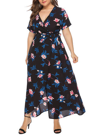Print/Floral Short Sleeves A-line Casual/Plus Size Maxi Dresses