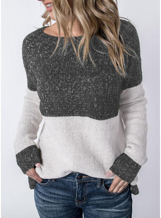 Patchwork Round Neck Sweaters