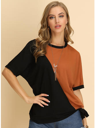 Color Block Round Neck 1/2 Sleeves Casual Blouses