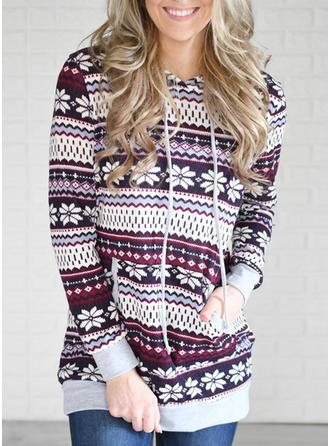 Katoen Print Kerstmis Kerst Sweatshirt