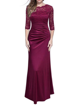 Lace Solid Round Neck Maxi Sheath Dress