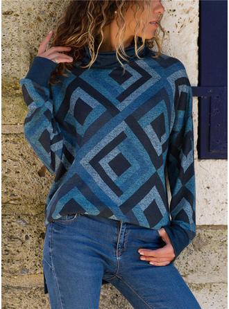 Polyester Turtleneck Geometric Print Sweater