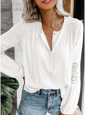 Patchwork Lace V-Neck Lantern Sleeve Long Sleeves Button Up Casual Blouses