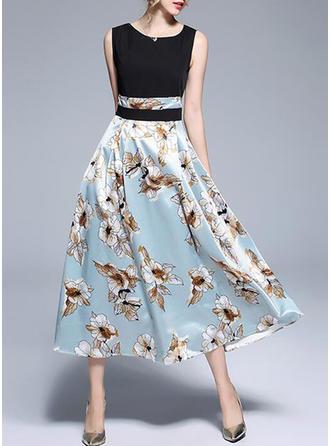 Floral Round Neck Midi A-line Dress