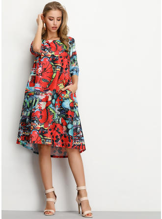 Print/Floral 1/2 Sleeves Shift Midi Casual/Vacation Dresses