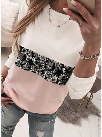 Color Block Sequins Round Neck Long Sleeves Casual Knit T-shirts