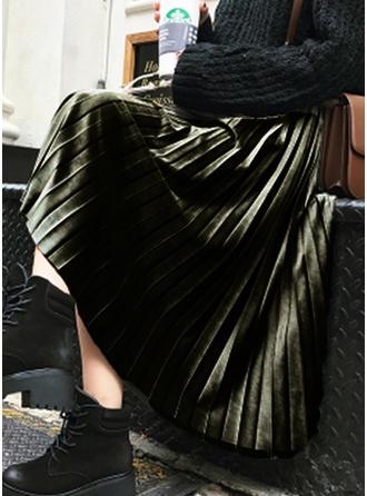 Velours Couleur unie Mi-Mollet Jupes plissées