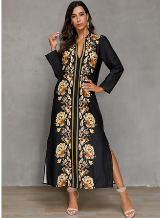 Print/Floral Long Sleeves Shift Maxi Casual/Boho/Vacation Dresses