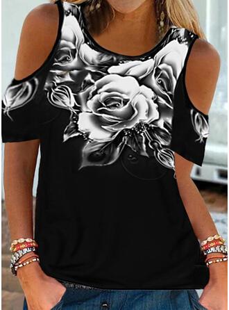 Fleurie Imprimé Accueil froid Manches Courtes T-shirts