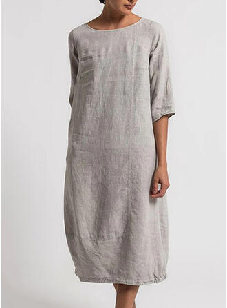 Solid 1/2 Sleeves Shift Casual Midi Dresses