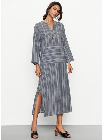 Striped V-neck Maxi Shift Dress