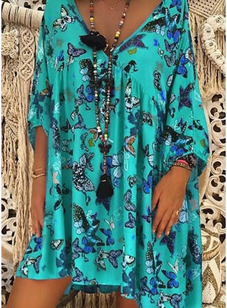 Print V-Neck Plus Size Boho Cover-ups Swimsuits