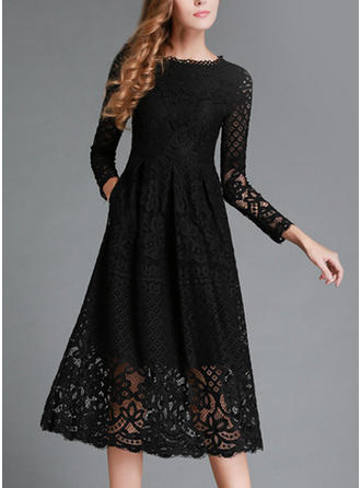 Lace/Solid Long Sleeves A-line Midi Vintage/Little Black/Casual/Elegant Dresses