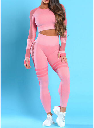 Round Neck Long Sleeves Color Block Sports Leggings Sports Tees