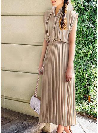 Solid Ruffles V-neck Midi A-line Dress