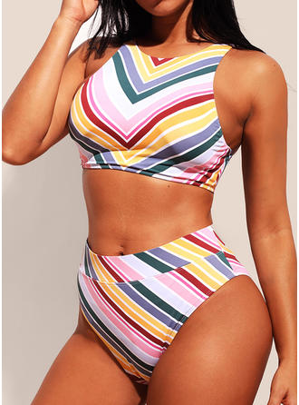 Rayures Col V Sexy Bikinis Maillots De Bain