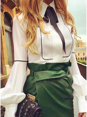Poliester Lapel Jednolity kolor Długie rękawy Koszula Bluzki