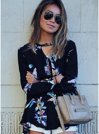 Chiffon V Neck Floral Long Sleeves Casual Blouses