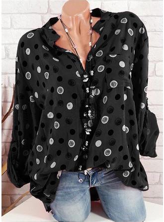 PolkaDot V-Neck Long Sleeves Button Up Casual Shirt Blouses