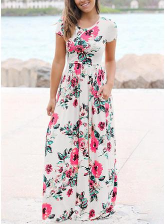 Floral Round Neck Maxi A-line Dress