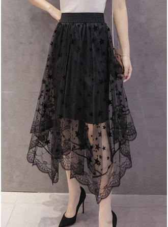 Cotton Lace Mid-Calf A-Line Skirts