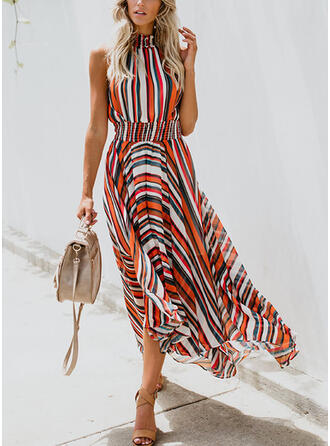 Print/Striped Sleeveless A-line Casual Midi Dresses