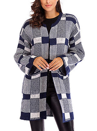 Knitting Long Sleeves Grid Cardigans