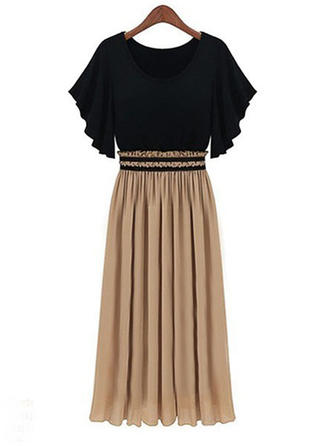 Short Sleeves A-line Midi Casual Dresses