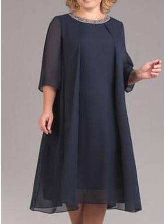 Solid 3/4 Sleeves Shift Midi Casual/Elegant Dresses