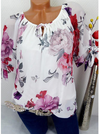 Chiffon Round Neck Print Short Sleeves Casual Blouses