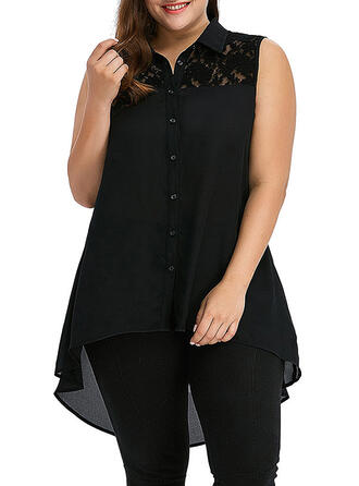 Solid Lace Lapel Sleeveless Button Up Casual Elegant Plus Size Shirt Blouses