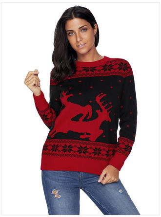 Polyester Round Neck Color Block Animal Print Ugly Christmas Sweater