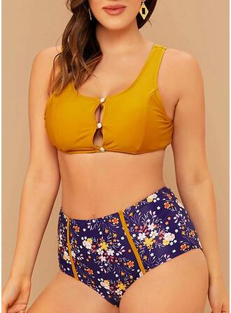 Fleuris Taille Haute Imprimé À Bretelles Col U Sexy Grande taille Bikinis Maillots De Bain