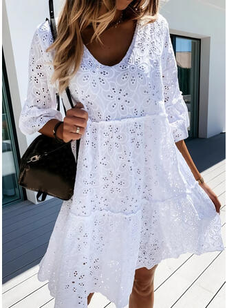 Lace/Solid 3/4 Sleeves Shift Knee Length Casual Tunic Dresses