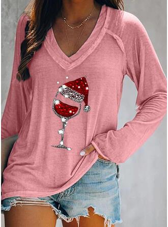 Nadruk Cekiny Dekolt w kształcie litery V Długie rękawy Casual Boże Narodzenie T-shirty