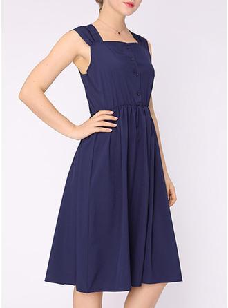 Solid Strap Knee Length A-line Dress