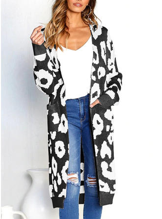 Polyester Coton Manches longues Motif Animal Manteaux oversize