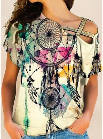 Print One-shoulder Korte Mouwen T-shirts