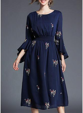 Print Floral Round Neck Midi A-line Dress