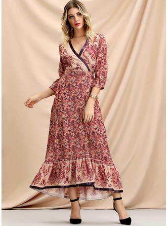 Print 3/4 Sleeves A-line Asymmetrical Casual/Elegant Dresses