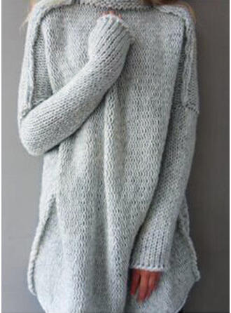 Knit Turtleneck Plain Sweater