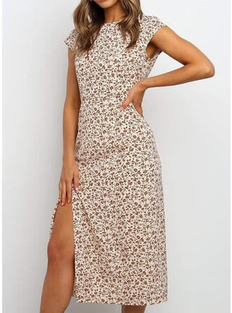 Print/Floral Cap Sleeve Sheath Casual Midi Dresses