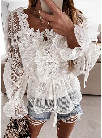 Solido Pizzo Colletto Quadrato Flare Sleeve Maniche lunghe Elegante Camicie