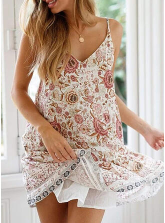 Print/Floral Sleeveless Shift Above Knee Sexy/Casual/Boho/Vacation Dresses