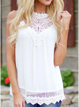 Lace Round Neck Sleeveless Casual Sheer Blouses