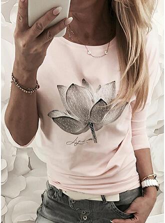 Figura Floral Impresión Cuello Redondo Manga Larga Camisetas