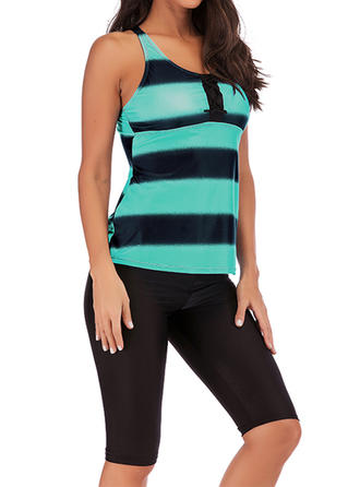 Stripe Patchwork Strapless Elegant Classic Tankinis Swimsuits