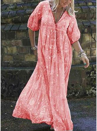Print 1/2 Sleeves A-line Casual/Elegant Maxi Dresses