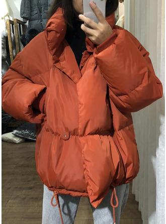 Poliester Długie rękawy Jednolity kolor Szerokie Płaszcze