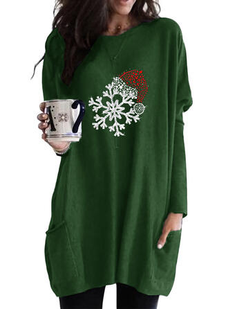 Print pailletter Lommer rund hals Lange ærmer Jule sweatshirt